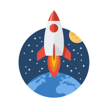 Cosmic travel and exploration icon - rocket launch from Earth planet - cosmos sky with stars and Moon satellite background - isolated vector  emblem