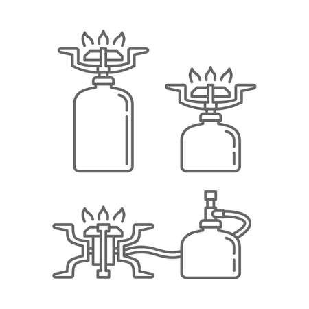 Gaz stove for camping for outdoor cooking in three variations and in outline style - vector icon set Vecteurs