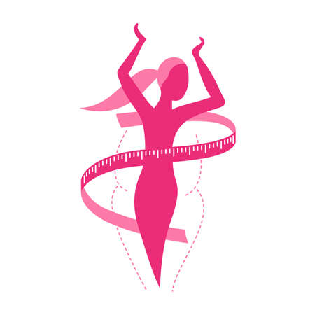 Weight loss challenge diet program (isolated icon) - abstract woman silhouette (fat and shapely figure) with measuring tape around Vecteurs