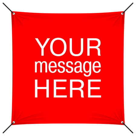 Red banner template with sample text - suspended by grommets with swaying textile cloth - message, protest, offers, greeting