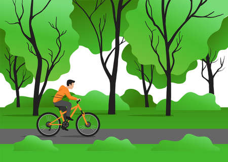 Spring outdoor cycling - flat cartoon man riding the bicycle through green forest (or park) - vector illustration Çizim