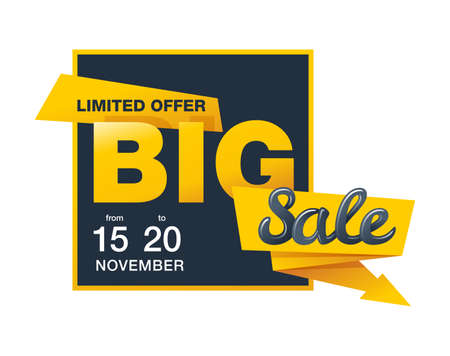 Big Sale arrow down price off - square banner or flyer element - yellow isolated sticker with sample text and validity period