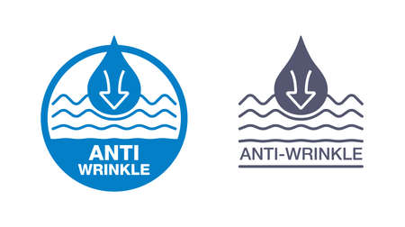 Anti-wrinkle emblem - icon with smoothing waves (wrinkles) and drop of gel, cream or fluid - stamp for cosmetics packaging