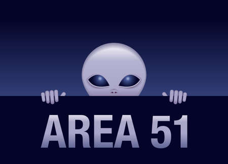 Area 51 - gray alien looking out from behind the fence of secret territory - vector fantastic picture