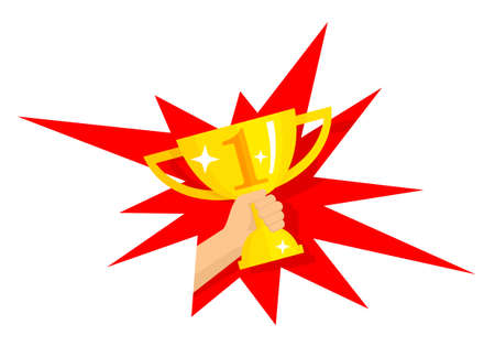 First place golden cup award inside starburst explosion - vector isolated icon or illustration