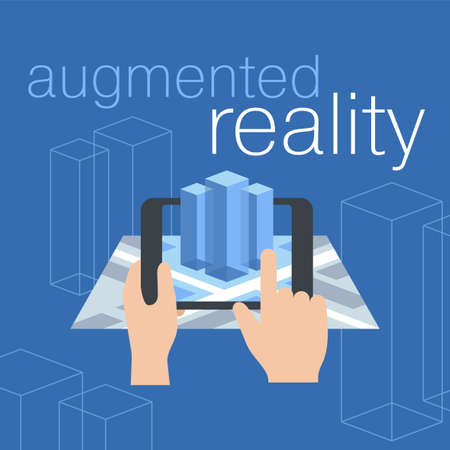 Augmented reality - vector concept with tablet screen holding in hands, isometric map and 3d-visualization of some architectural object on blue background