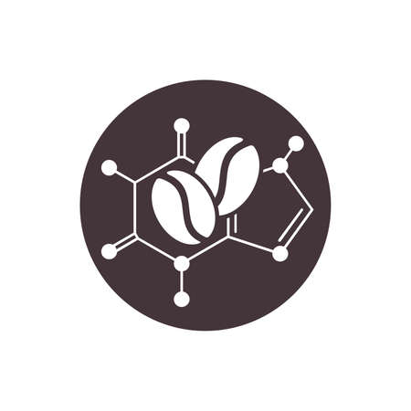 Caffeine icon - molecular cell structure with coffee beans inside - isolated vector emblem for food composition on products packaging Vetores