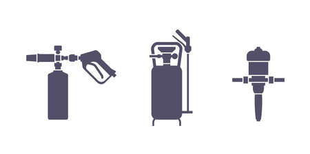 Car foam equipment for car wash service - gun sprayer, foam generatorfor pressure sprayer and dosatron dosing pump - isolated vector monochrome icons