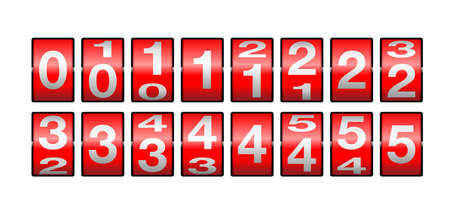 Countdown clock from to 5 - red mechanical rotation counter display - time remaining animation Vetores