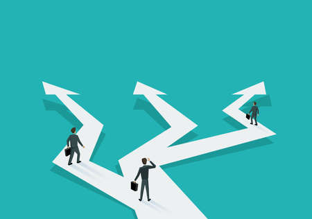 Business planning and correct way of decision choosing - people in low poly style walking on crossroads different direction arrows - vector illustration for business concept