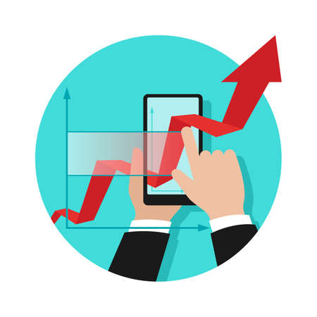 Business analyticsm financial wealth strategy planning and modern technologies concept - from real to digital - growing chart pass through phone screen - conceptual isolated icon Ilustração