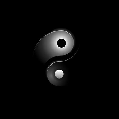 Yin and yang on black background - concept of dualism in ancient Chinese philosophy - popular philosophic symbol in dark creative decoration