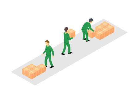 People carrying cardboard boxes - group of loaders with packaging - delivery process - isometric vector illustration