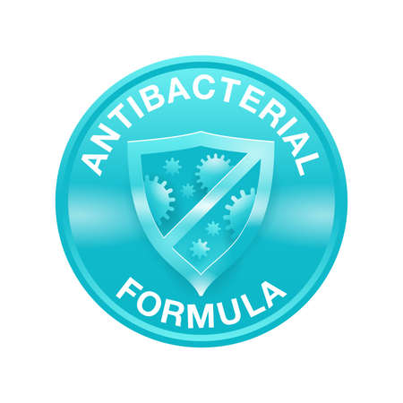 Antibacterial formula emblem - shield with crossed bacteries inside - vector isolated sign for antiseptic cosmetics and medical pharmaceutical products Vetores