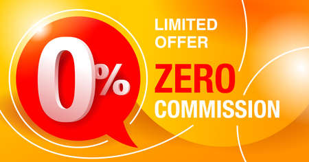 0 percents banner - zero commission special offer layout template with 3D yellow zero digit and red background - vector promo limited offers flyer Illusztráció