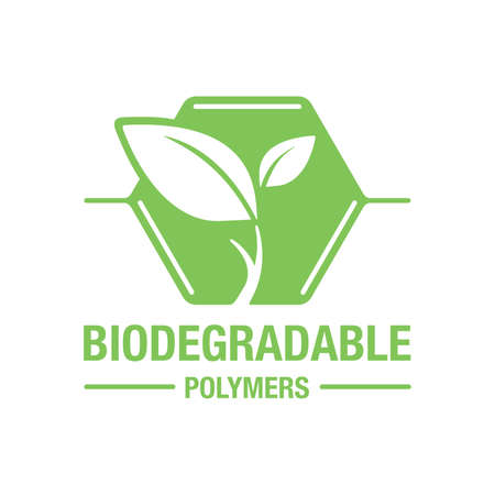 Biodegradable polymers icon - green emblem with plastic polymer molecule and plant leaf inside - eco-friendly plastic products marking