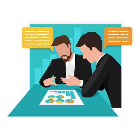Business management creative concept - two businessmen discussing the company's development schedule on abstract background - vector isolated illustration