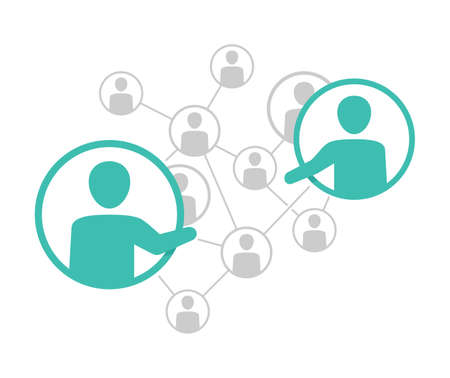 Network management scheme - vector illustration of people community which contains people icons or avatars connected to each other by lines with two people in friendship or cooperation