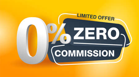 zero commission special offer banner template in yellow an dark gray colors - vector promo limited offers flyer