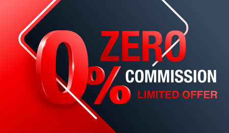 zero commission special offer banner template with 3D red zero digit and on modern background - vector promo limited offers flyer