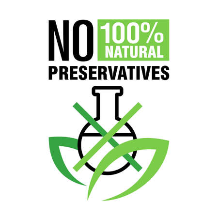 No added preservatives 100 natural label for healthy products of biologically active additives, food, cosmetics - vector badge or stamp