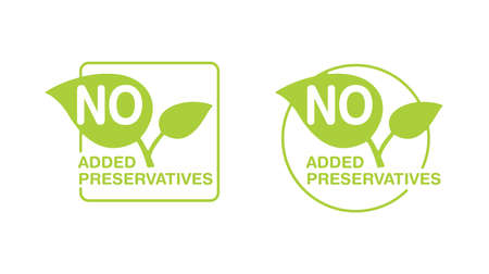 No added preservatives green eco-friendly stamp in green frame (circle or square) - isolated vector icon for food products packaging