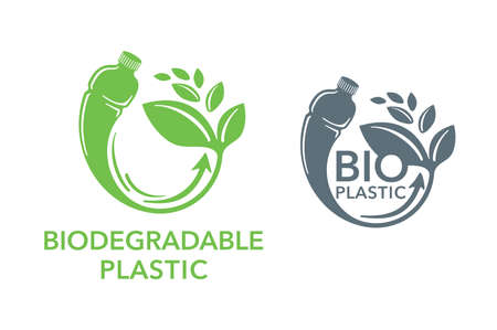 Biodegradable plastic sign - bottle turns to plant - eco friendly compostable material production (environment protection emblem)