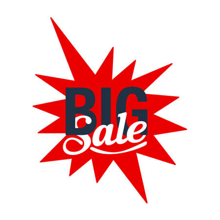 Big sale sticker or button - message inside starburst shape - vector isolated element