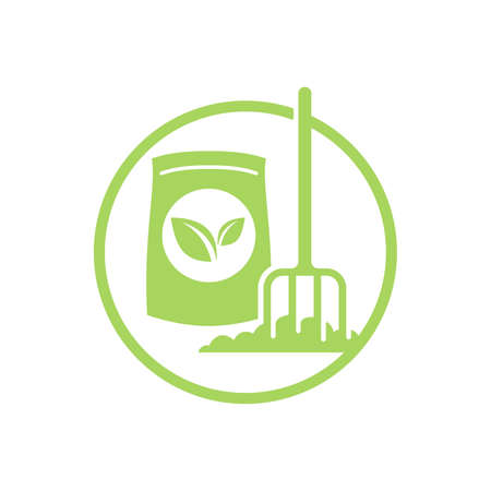 Organic fertilizer icon - farming agriculture useful component - naturally occurring organic animal wastes - isolated vector emblem