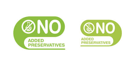 No added preservatives stamp with crossed flask - isolated vector icon for healthy food and cosmetics products packaging