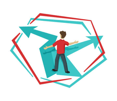 Man at crossroads in low poly style before important choice (correct decision choosing) - vector illustration for business concept or political voting