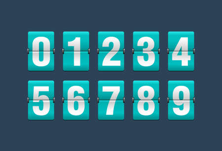 Flip countdown clock - vector digits - turquoise counter timer, time remaining count down scoreboard in flip board with different digits from to 9