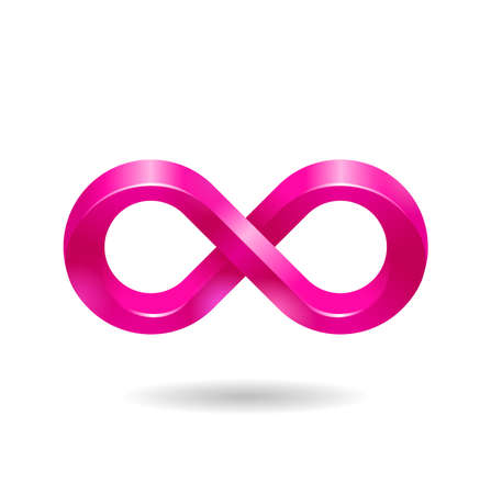 Infinity sign icon in 3D glossy style - vector isolated creative decorated philosophical symbol
