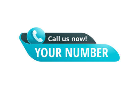 Call us now! Catchy web button - template for phone number place in website header - conspicuous sticker with phone headset pictogram