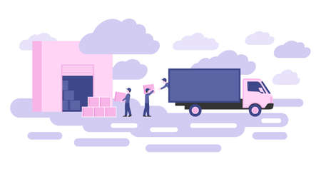 Delivery service conceptual illustration - workers loading packaging boxes warehouse to cargo truck