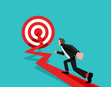 Goal achievement and hitting the target business concept - vector illustration with businessman, arrow and target 矢量图像