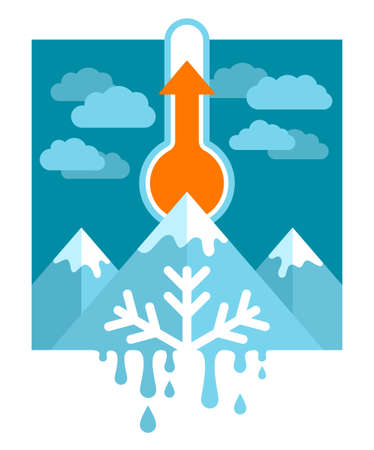 Global warming and climate change concept - mercury thermometer with rising temperature indicator, snowy peaks and melting snowflake - vector illustration 向量圖像