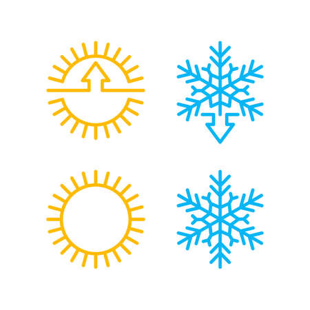 Weather change or climate control icon with temperature rising and lowering arrow indicator - isolated vector set 向量圖像