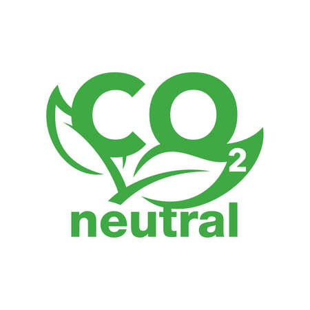 CO2 neutral stamp - carbon emissions free (no air atmosphere pollution) industrial production eco-friendly isolated sign