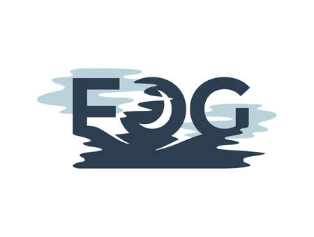 Fog   template - FOG letters integrated in mystic landscape with moon and mist silhouette - vector emblem template