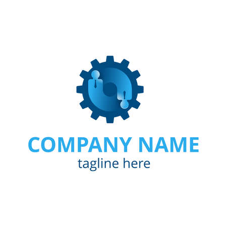 HR company template - Human resources or team work (working solutions) - circular emblem with people rotating inside gears