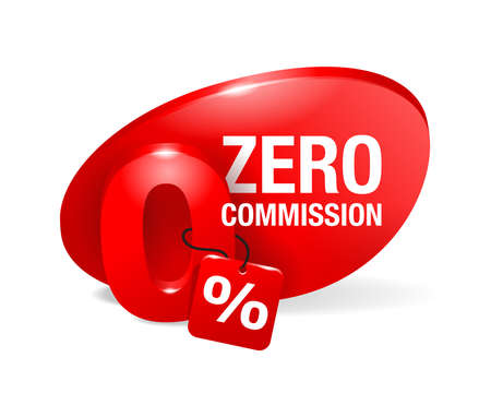 Zero percent commission badge template - 0 in cartoon decoration with tag and place for offer text - isolated vector promo poster or web element Ilustração