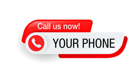Call us button - template for phone number in website header - conspicuous sticker with phone headset pictogram Ilustração