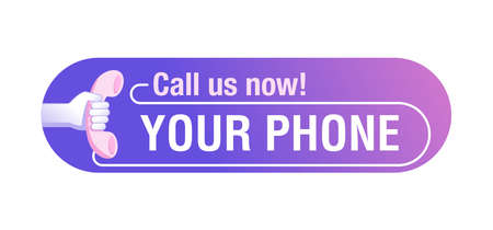 Call us button - template for phone number place in website header - conspicuous element with phone headset pictogram in modern decoration