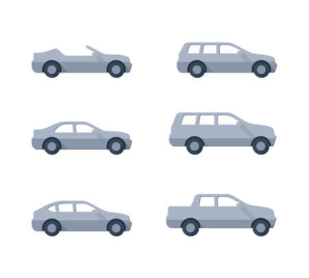 Vector cars - set of vector flat automobiles with different car body - sedan, offroad, roadster, pickup, universal, hatchback - icons collection