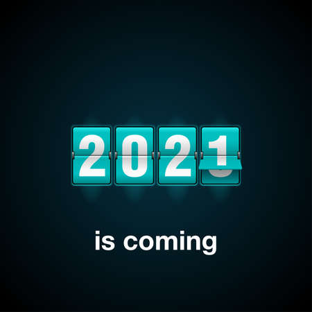 2021 is coming new year flip countdown time remaining counter with half flipped from 2020 to next year digits