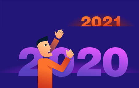 Survive in 2020 and meet year 2021 concept - abstract man climbing the digits and asking for help
