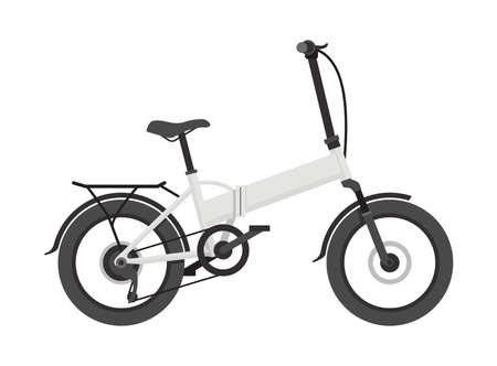 Electric bicycle bike side view - charging eco means of transportation - isolated vector illustration