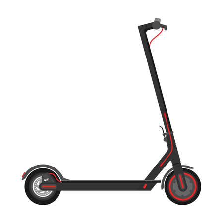 Electric scooter (kick scooter) in side view - isolated vector illustration of eco-friendly sustainable transport