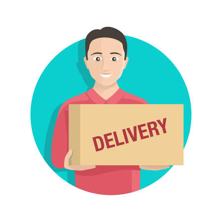 Happy smiling delivery guy with cardboard box (your parcel) - cartoon circular banner element Иллюстрация